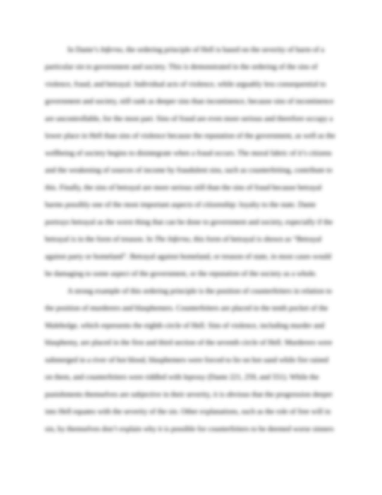 A literary analysis of inferno by dante alighieri