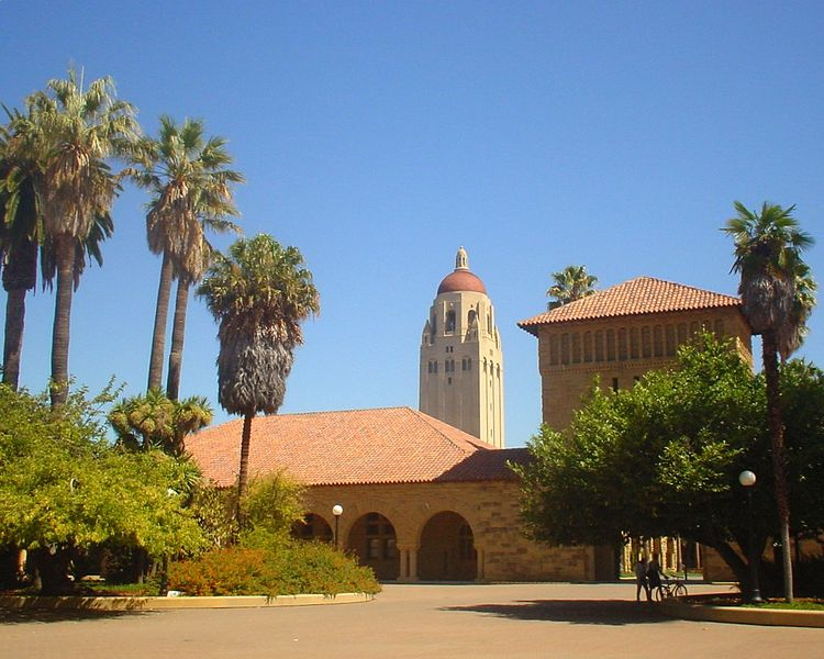 Stanford University Main Quad, Hoover Tower in Background
