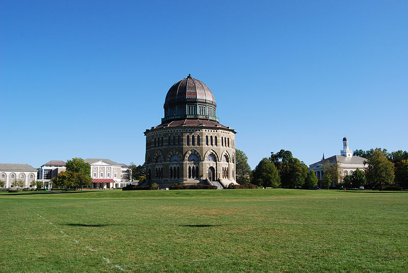 Schaffer Library, the Nott Memorial, and Memorial Chapel on the campus of Union College in Schenectady, New York