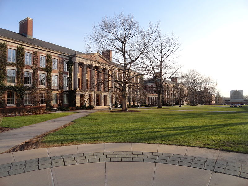 The quad at the University of Rochester.