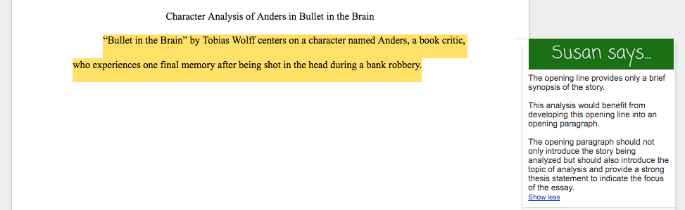 "character analysis of anders in bullet in the brain a book by tobias wolff bullet in the brain – analysis the short story ""bullet in the brain"" is written by tobias wolff the story takes place in a bank, where we meet the main character anders."