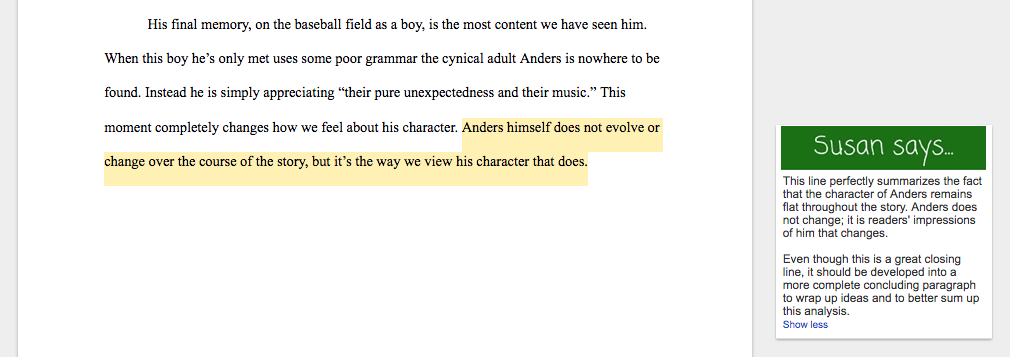 writing a thesis statement for a character analysis
