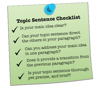 topic sentence vs main idea