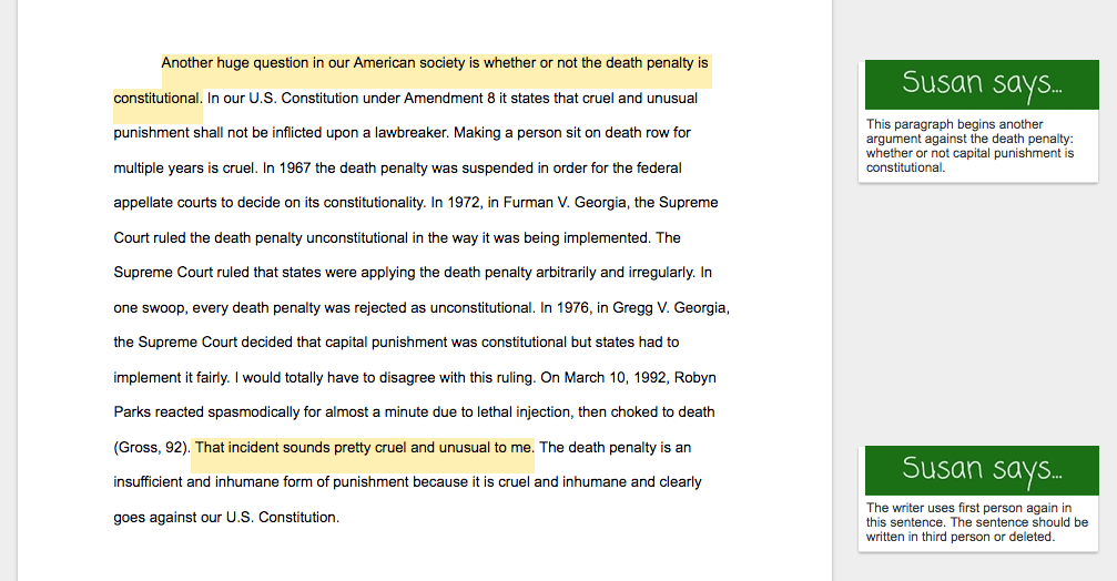 Examples death penalty research papers