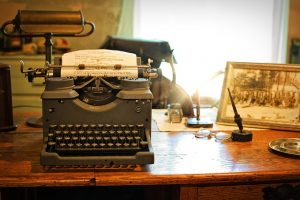 vintage manual typewriter on desk