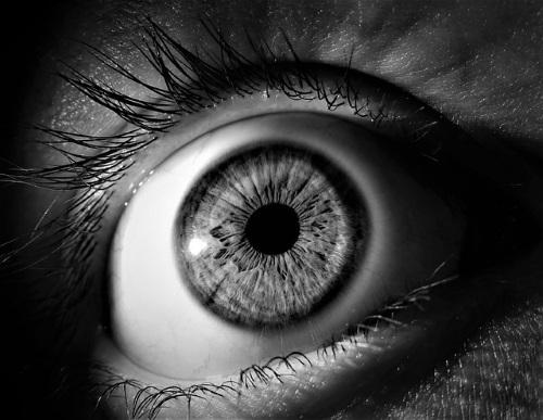 black and white closeup of eyeball