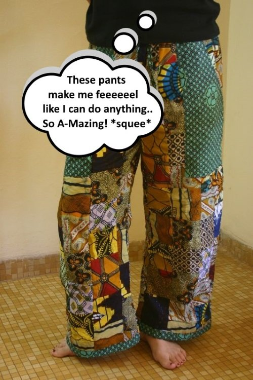 person wearing patchwork pants that make them feel good