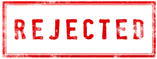 rubber stamped image of the word rejected