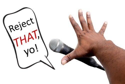 mic drop with speech bubble that says reject that, yo