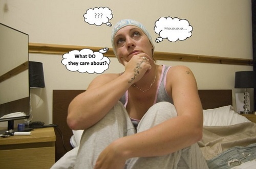 woman wearing thinking cap surrounded by speech balloons