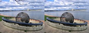 two images of captain james cook memorial globe with minor changes