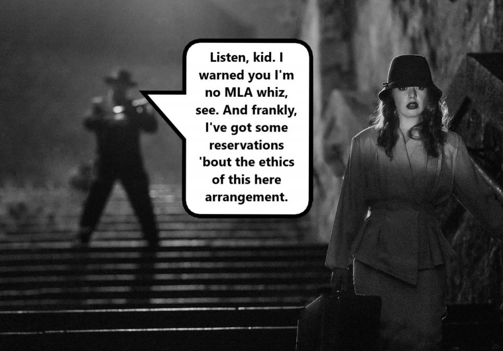 nervous woman walking away from man issuing warning in film noir scene