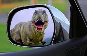 dinosaur in rear-view mirror