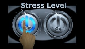 stress level buttons with finger hovering over 'off'