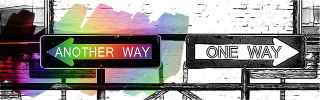 sketch of two opposing signs that say 'another way' and 'one way'