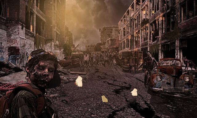 post-apocalyptic urban zombie scene